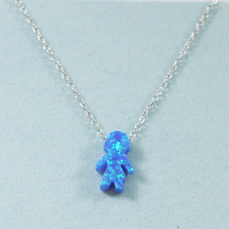 925 Sterling Silver Opal Family Pendant Necklace