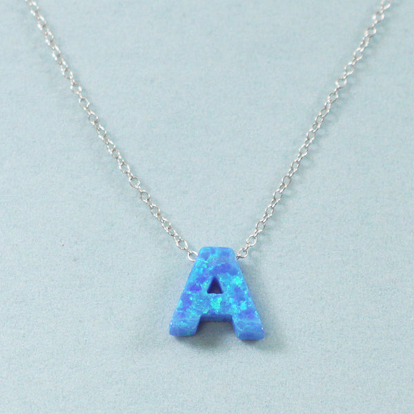 925 Sterling Silver Opal A-Initial Pendant Necklace