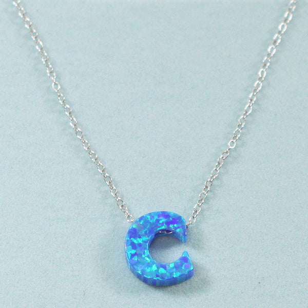 925 Sterling Silver Opal C-Initial Pendant Necklace