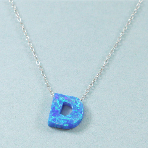 925 Sterling Silver Opal D-Initial Pendant Necklace