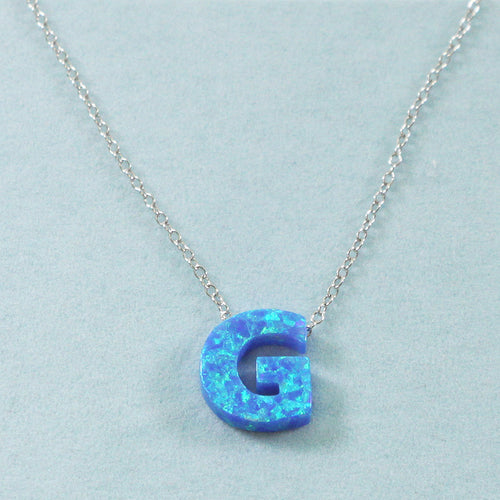 925 Sterling Silver Opal G-Initial Pendant Necklace