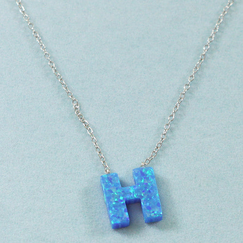 925 Sterling Silver Opal H-Initial Pendant Necklace