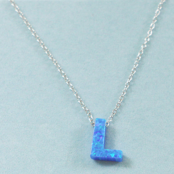 925 Sterling Silver Opal L-Initial Pendant Necklace