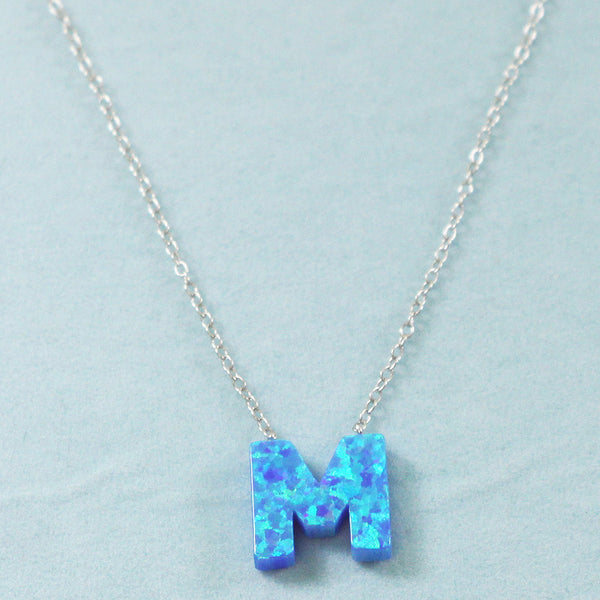 925 Sterling Silver Opal M-Initial Pendant Necklace