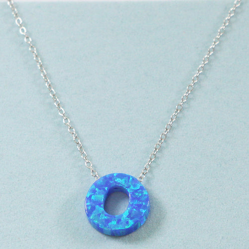 925 Sterling Silver Opal O-Initial Pendant Necklace