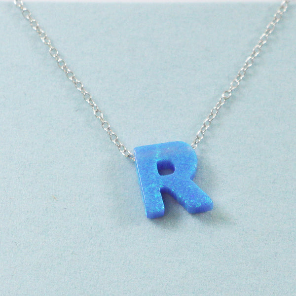 925 Sterling Silver Opal R-Initial Pendant Necklace