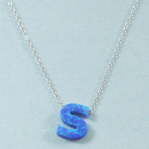 925 Sterling Silver Opal S-Initial Pendant Necklace