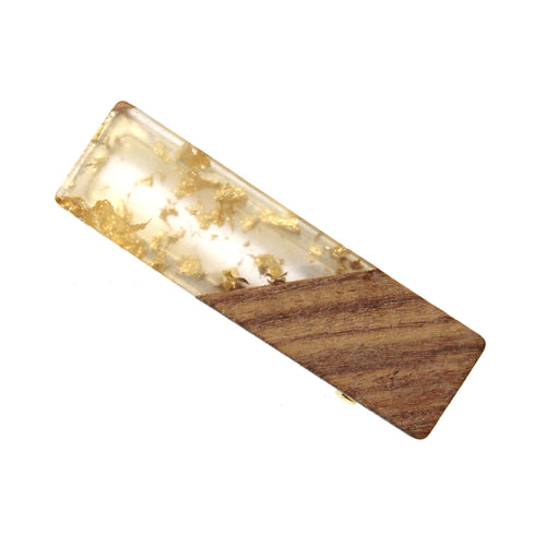 Flake Acetate With Wood Rectangle Hair Clip