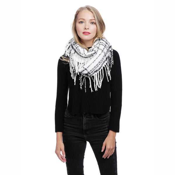 Plaid Infinity Scarf with Fringe