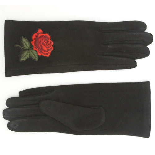 Flower Embrodry Suede Gloves