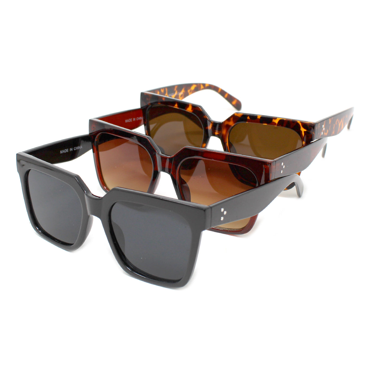 Square Edge Resin Frame Assorted Fashion Sunglasses (12 pieces)