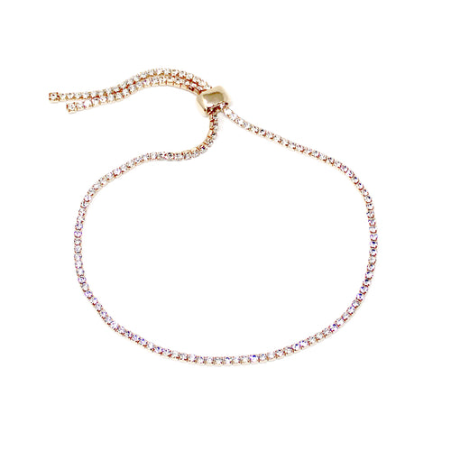 Rhinestone Paved Strand With Sliding Bead Anklet