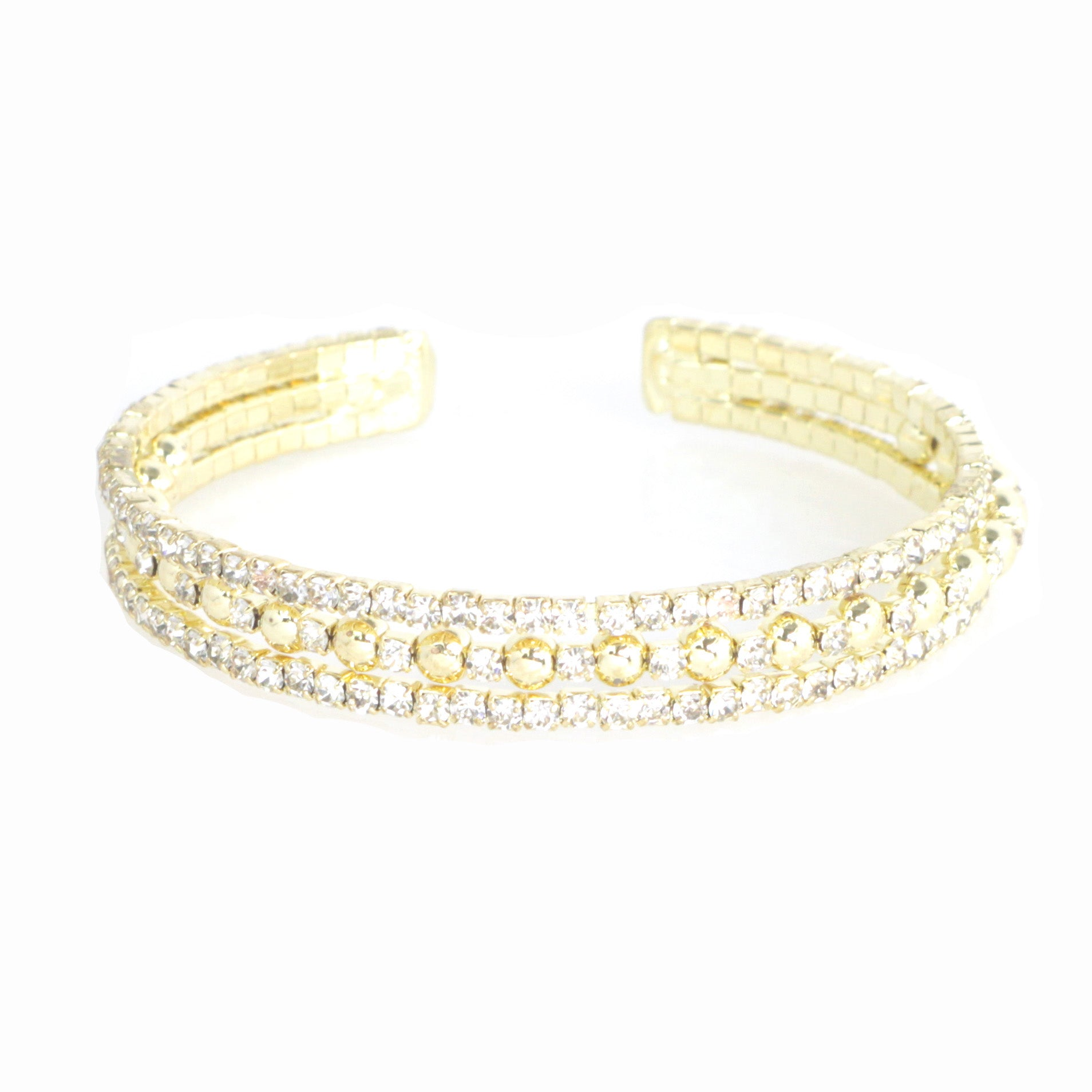 Layered Crystal Stone Metal Cuff Bracelet