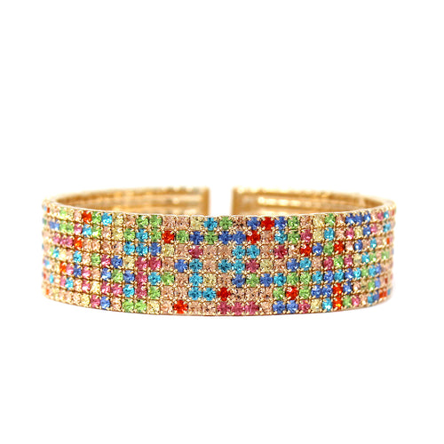 7 Row Multi Color Rhinestone Pave Cuff Bracelet