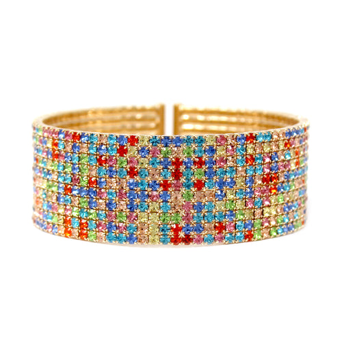 10 Row Multi Color Rhinestone Pave Cuff Bracelet