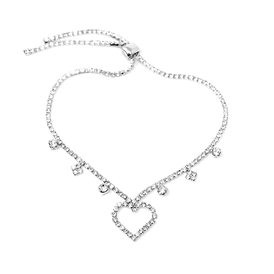 Rhinestone Paved Heart With Sliding Bead Anklet