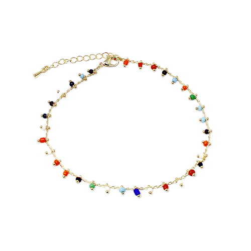 Multi Color Seed Bead Dangle Anklet