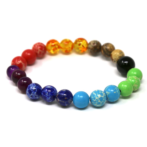 Multi Color Natural Stone Beaded Stretch Bracelet