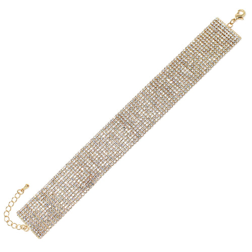 12 Row 2 mm Rhinestone Pave Anklet