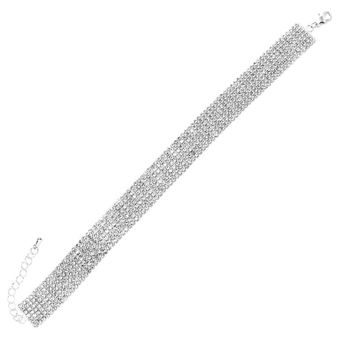 7 Row 2 mm Rhinestone Pave Anklet