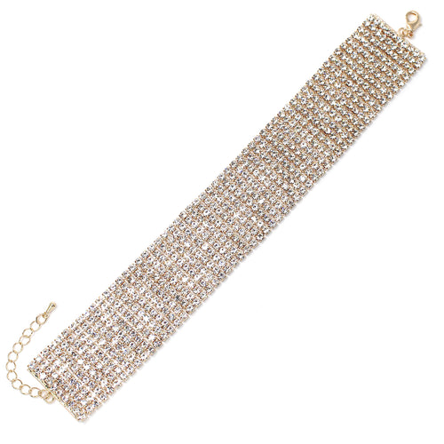10 Row 3 mm Rhinestone Pave Anklet