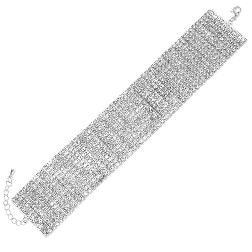 12 Row 3mm Rhinestone Pave Anklet