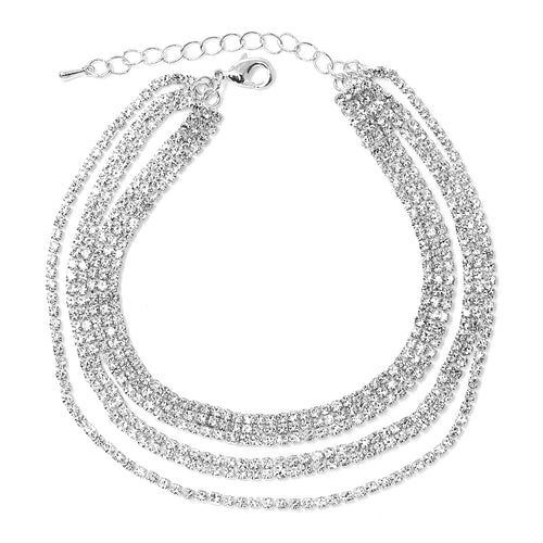 3 Row Rhinestone Pave Chain Triple Layered Anklet