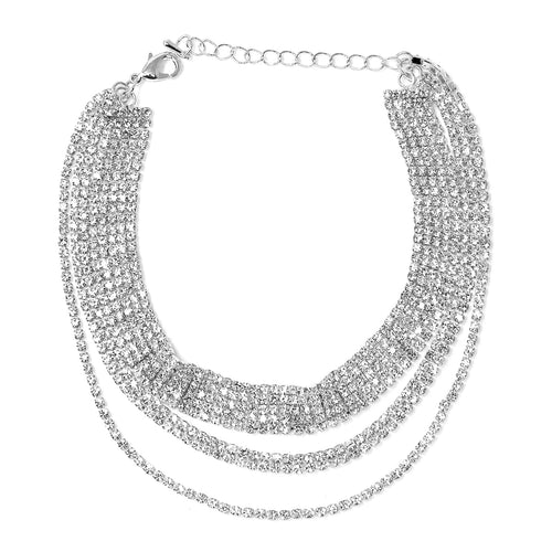 5 Row Rhinestone Pave Chain Triple Layered Anklet