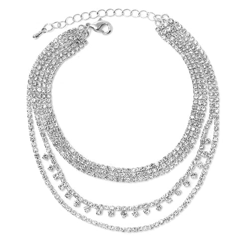 3 Row Rhinestone Pave Chain Round Stone Detail Layered Anklet