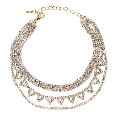 3 Row Rhinestone Pave Chain Scalloped Detail Layered Anklet