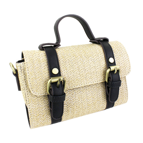 STREET LEVEL Basket Weave Buckle Trimmed Mini Tote Bag