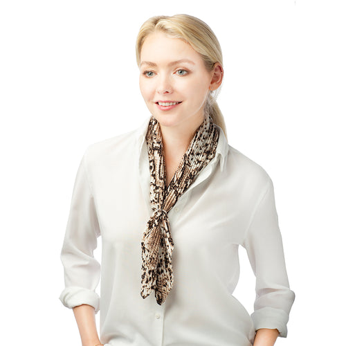 Pleated Animal Print Scarf