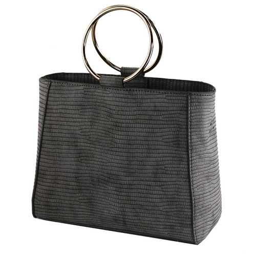 Mini Square Print Round Metal Handle Handbag