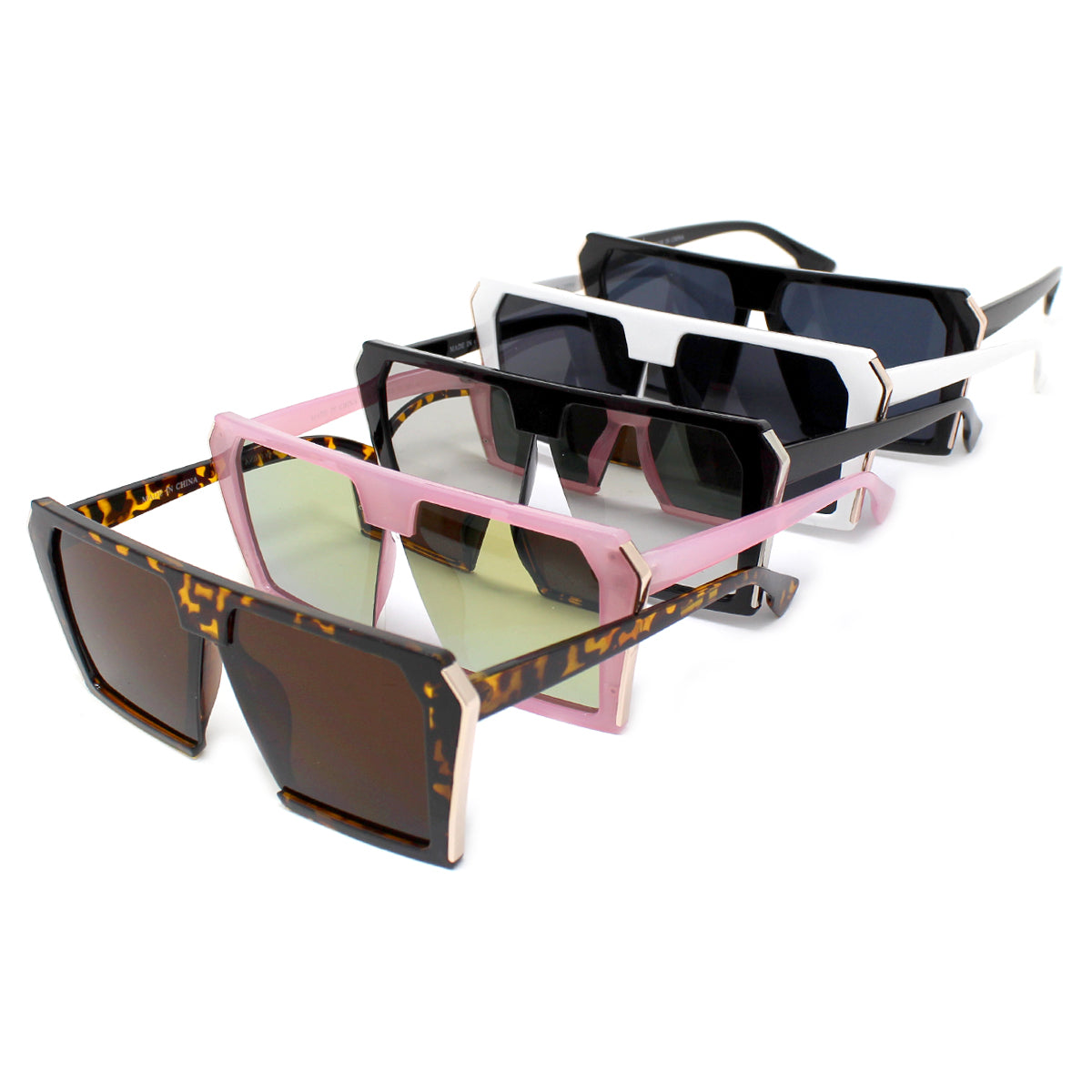 Metal Edge Square Oversized Assorted Fashion Sunglasses (12 pieces)