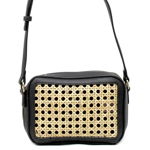STREET LEVEL Rattan Weave Detail Crossbody Bag