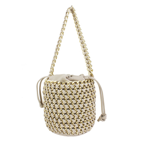 STREET LEVEL Metal Chain Weaved Drawstring Bucket Bag