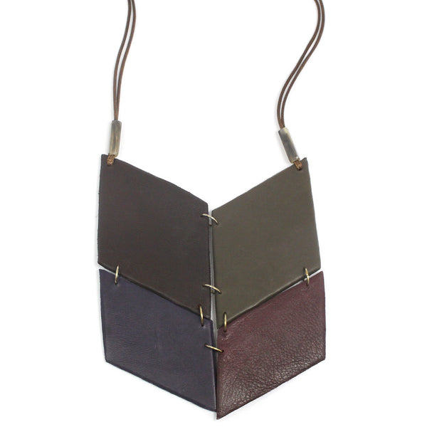 Geometric Leather Long Necklace