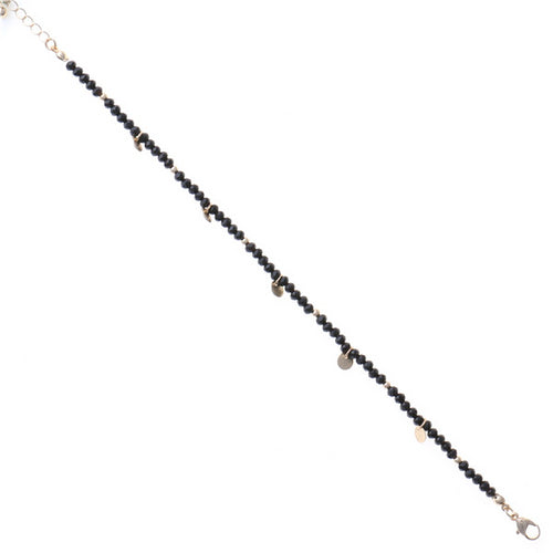 Beaded Mini Metal Disk Charm Anklet