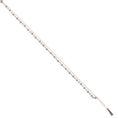 Double Strand Beaded Mini Tassel Anklet