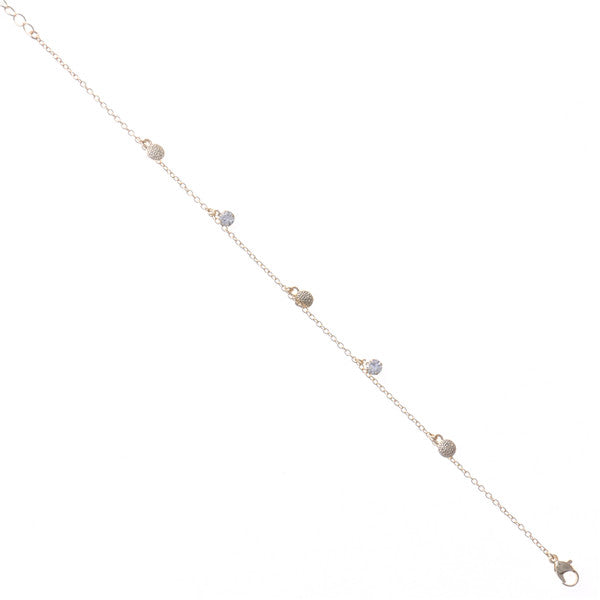 Mini Disk And Glass Stone Charm Simple Anklet