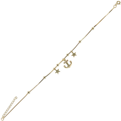 Anchor With Star Charm Sterling Silver Anklet