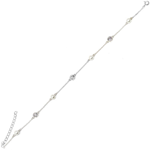 Cubic Zirconia With Pearl Station Sterling Silver Anklet