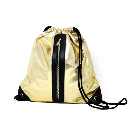 Front Zipper Drawstring Backpack
