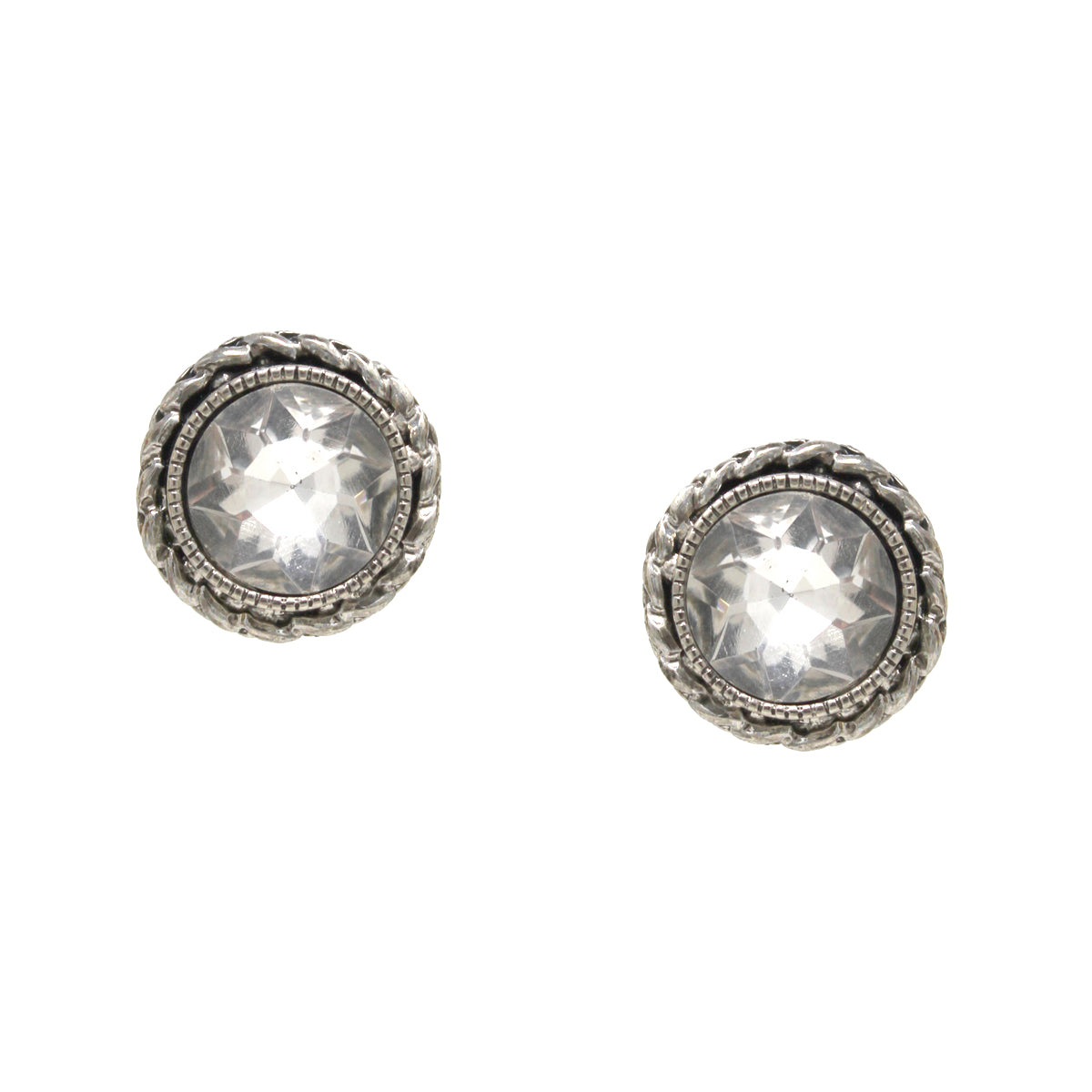 Braided Texture Metal Framed Glass Stone Stud Earrings