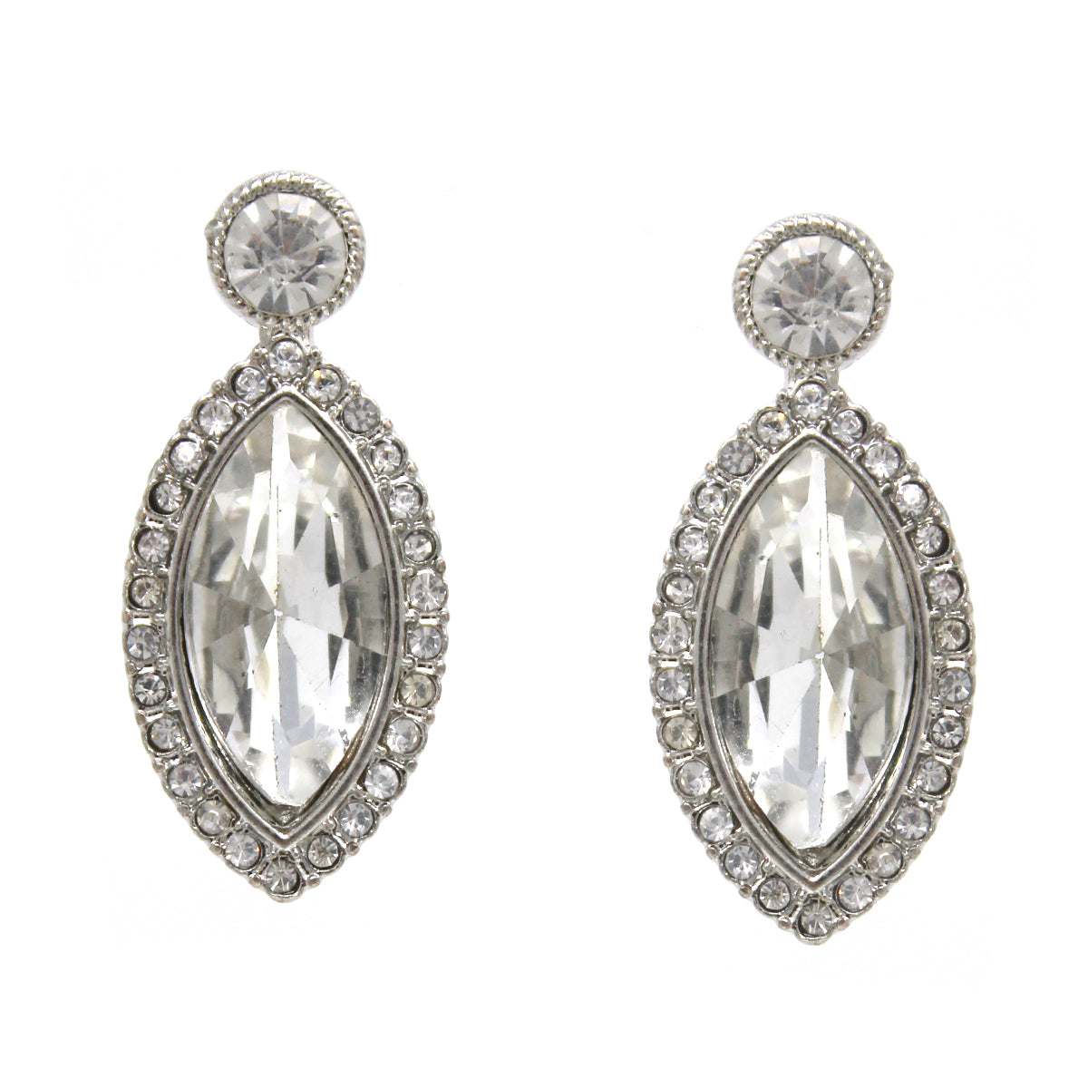 Rhinestone Pave Marquise Glass Stone Drop Earrings