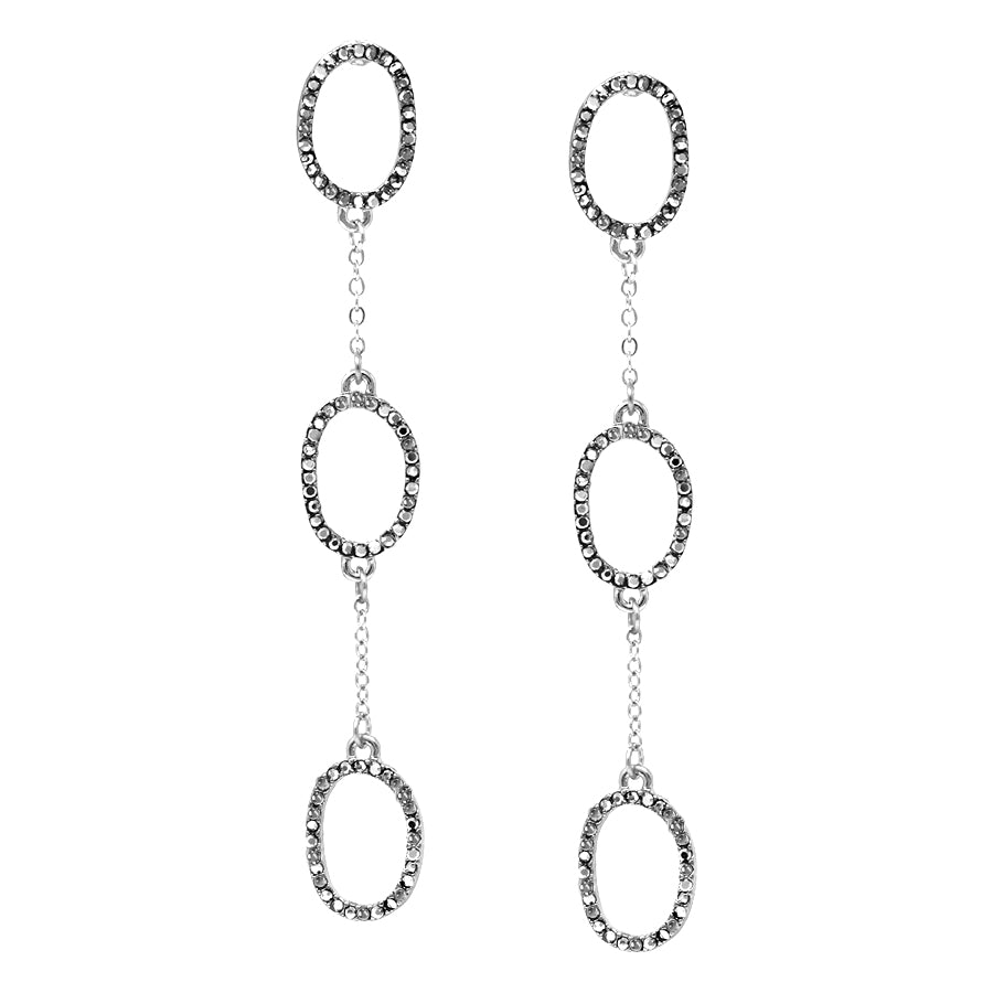 Pave Glass Stone Oval Hoop Linear Drop Earrings