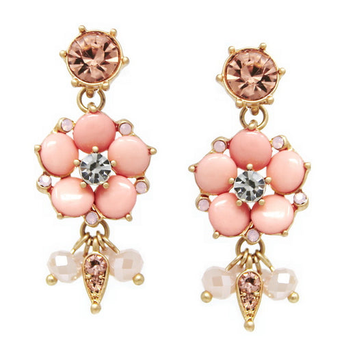 Enamel Color Flower Glass Bead Drop Earrings