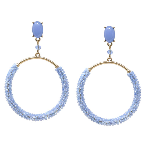Seed Bead Wrapped Hoop Drop Earrings
