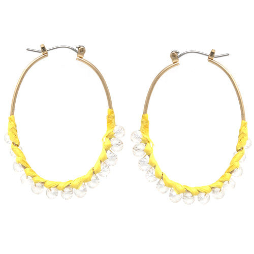 Paper Glass Beads Wrapped Oval Hoop Earrings