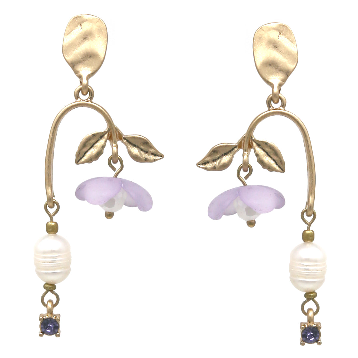 Acetate Flower Pearl Drop Earrings